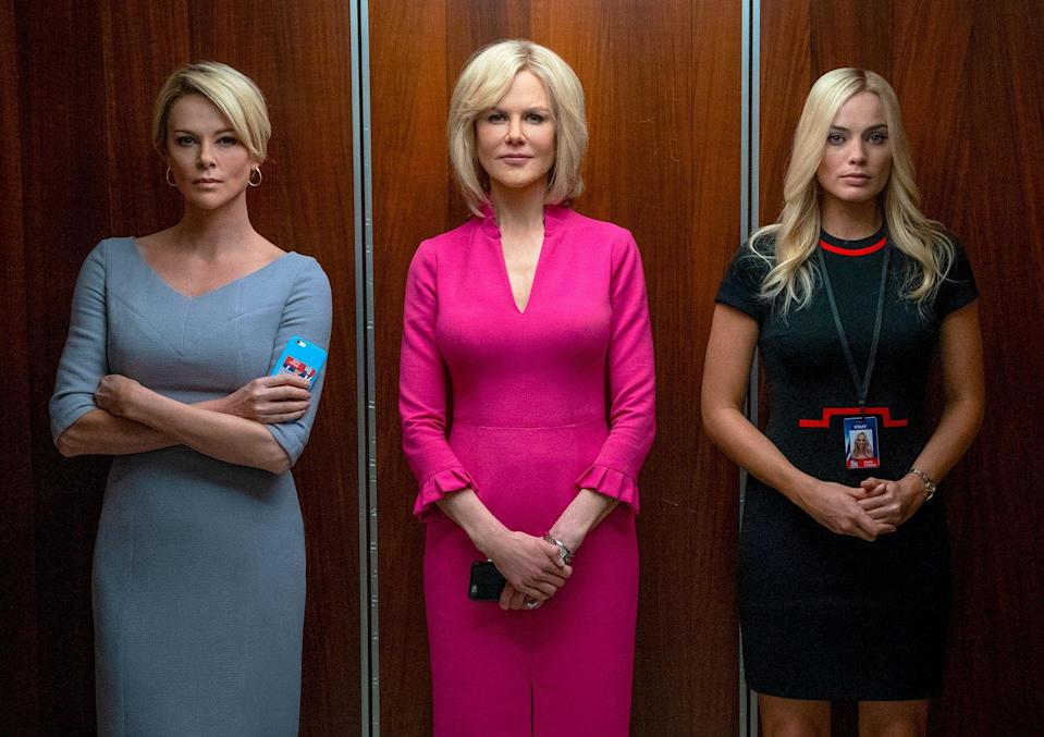 """<p>Let's go ahead and give <em>Bombshell </em>the Oscar for best makeup, because the transformations in Jay Roach's new film about Roger Ailes' downfall Fox News are unbelievably true-to-life. The buzzy movie (out December 20) was inspired by female anchors at the network who spoke out against a culture of rampant misogyny and harassment under CEO Ailes. Visual artist Kazuhiro Tsuji (best known for turning Gary Oldman into Winston Churchill in <em><a href=""""https://slate.com/arts/2017/11/darkest-hour-starring-gary-oldman-reviewed.html"""" rel=""""nofollow noopener"""" target=""""_blank"""" data-ylk=""""slk:The Darkest Hour"""" class=""""link rapid-noclick-resp"""">The Darkest Hour</a></em><em>) </em>used prosthetics and special effects to transform Charlize Theron into Megyn Kelly, Nicole Kidman into Gretchen Carlson, and John Lithgow into Roger Ailes. Here's the film's cast next to the real-life people they portray. </p>"""