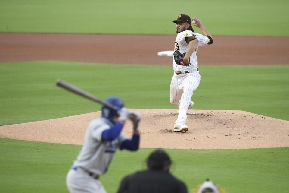 San Diego Padres pitcher Dinelson Lamet delivers against the Dodgers on Sept. 14.
