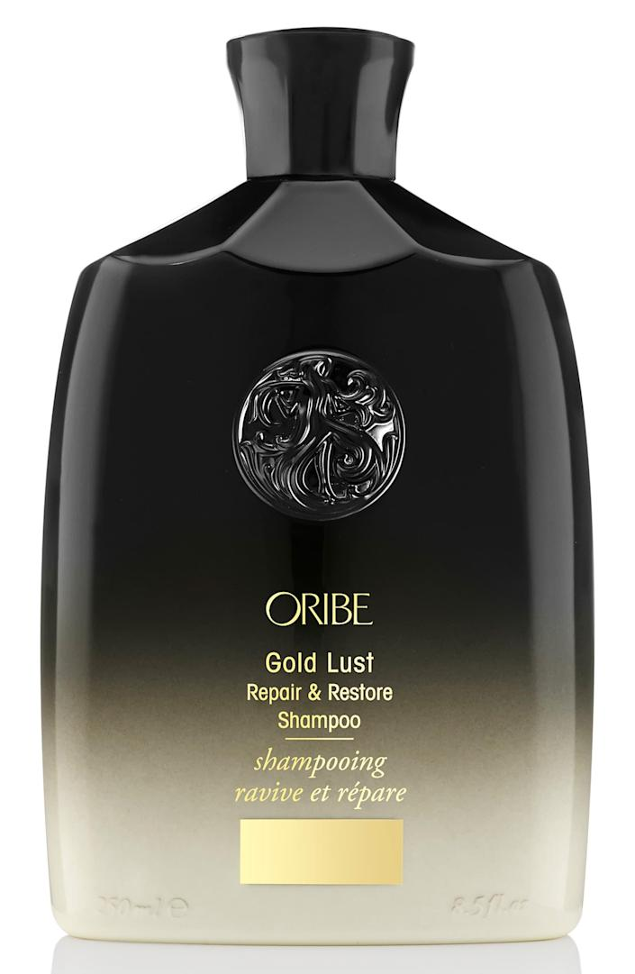 """<h3><a href=""""https://shop.nordstrom.com/s/oribe-gold-lust-repair-restore-shampoo/4513788/full"""" rel=""""nofollow noopener"""" target=""""_blank"""" data-ylk=""""slk:Oribe Gold Lust Repair & Restore Shampoo"""" class=""""link rapid-noclick-resp"""">Oribe Gold Lust Repair & Restore Shampoo</a></h3><br>Give her the gift of good hair with this rejuvenating cleanser that reawakens hair to its glossiest, healthiest prime — this is especially relevant for those locks that have lost their luster in quarantine. <br><br><strong>Oribe</strong> Gold Lust Repair & Restore Shampoo, $, available at <a href=""""https://go.skimresources.com/?id=30283X879131&url=https%3A%2F%2Fshop.nordstrom.com%2Fs%2Foribe-gold-lust-repair-restore-shampoo%2F4513788%2Ffull"""" rel=""""nofollow noopener"""" target=""""_blank"""" data-ylk=""""slk:Nordstrom"""" class=""""link rapid-noclick-resp"""">Nordstrom</a>"""