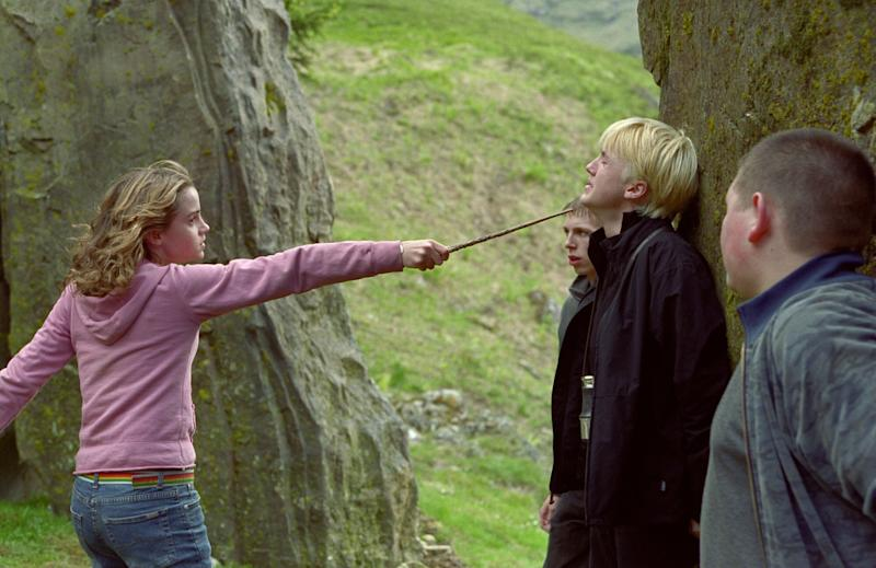 Emma Watson threatens Tom Felton in Harry Potter and the Prisoner of Azkaban (credit: Warner Brothers)
