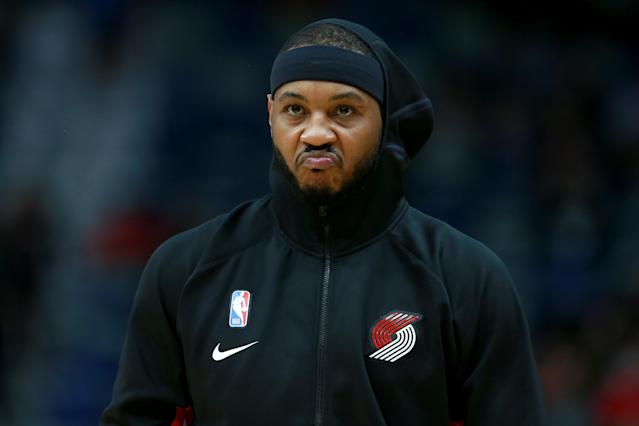 Carmelo Anthony has scored 28 points on 29 shots for the Blazers. (Sean Gardner/Getty Images)