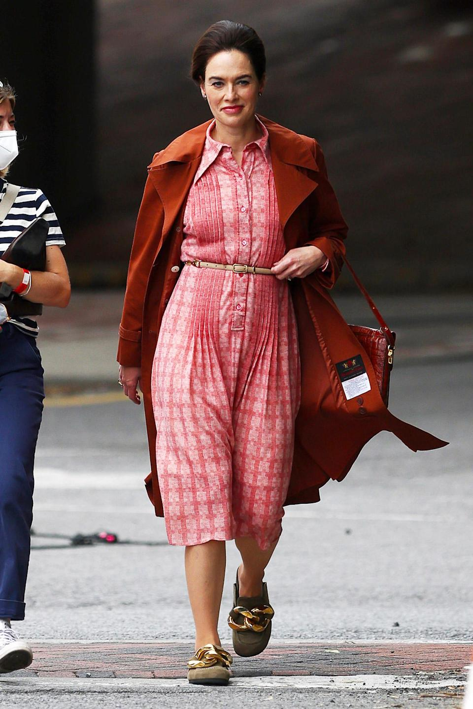 <p>Lena Headey travels back in time while filming HBO's Watergate drama <i>The</i> <i>White House Plumbers</i> in Poughkeepsie, New York on June 3. </p>