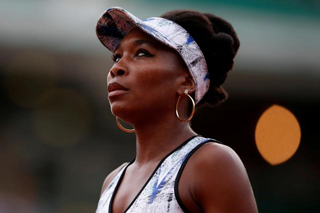FILE PHOTO: USA's Venus Williams reacts during her third round match against Belgium's Elise Mertens during the French Open at Roland Garros stadium in Paris, France on June 2, 2017. REUTERS/Christian Hartmann/File Photo