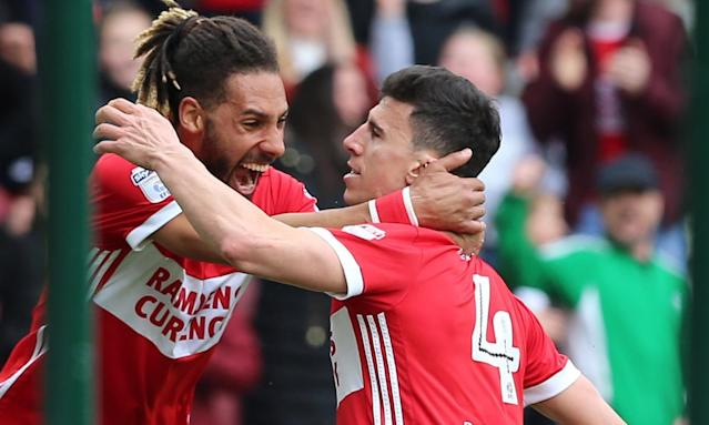 Daniel Ayala (right) celebrates scoring Middlesbrough's winning goal with Ryan Shotton