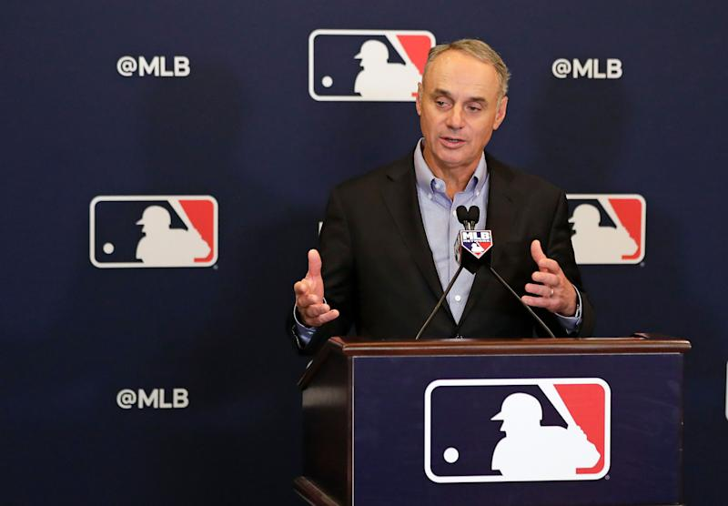 MLB commissioner Rob Manfred has expressed concern about the negativity shown toward the owners. (AP Photo/John Raoux)