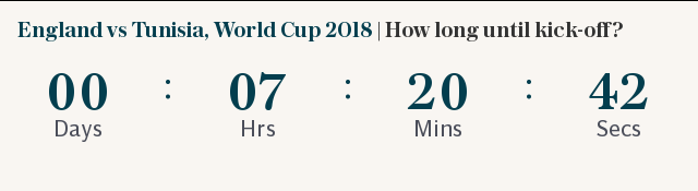 England vs Tunisia, World Cup 2018 | How long until kick-off?