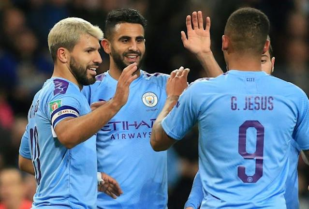 Sergio Aguero (L) celebrates scoring for Manchester City against Southampton (AFP Photo/Lindsey Parnaby)
