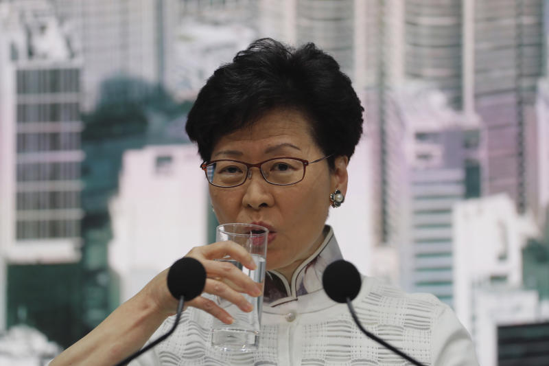 Hong Kong's Chief Executive Carrie Lam attends a press conference on Saturday, June 15, 2019, in Hong Kong. Lam said she will suspend a proposed extradition bill indefinitely in response to widespread public unhappiness over the measure, which would enable authorities to send some suspects to stand trial in mainland courts. (AP Photo/Kin Cheung)