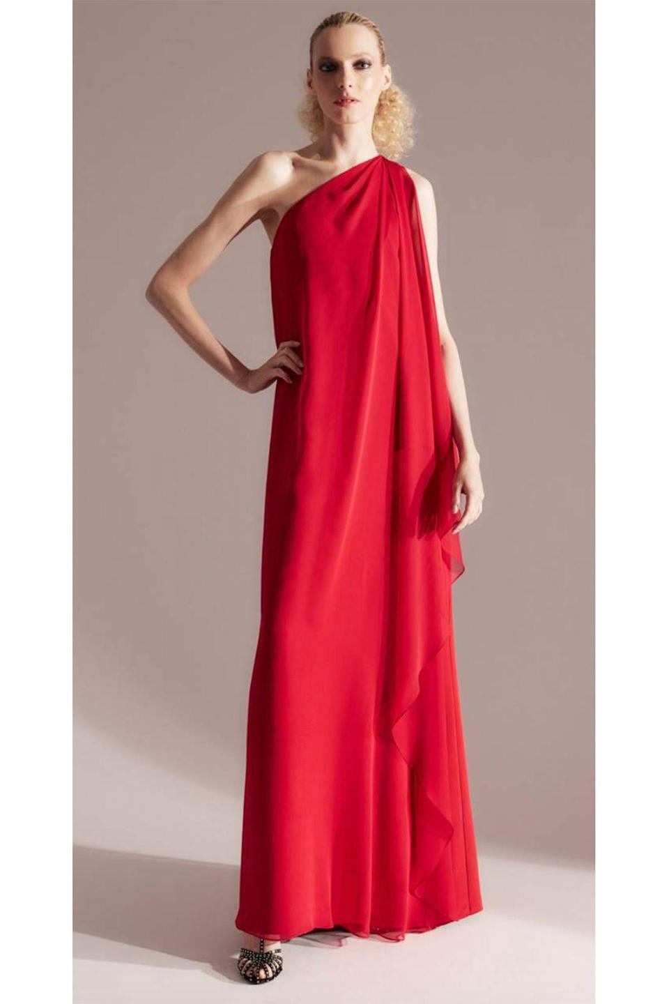 """<p><strong>Halston</strong></p><p>halston.com</p><p><strong>$1295.00</strong></p><p><a href=""""https://go.redirectingat.com?id=74968X1596630&url=https%3A%2F%2Fhalston.com%2Fcollections%2Fhalston-x-netflix-capsule%2Fproducts%2Fhalston-marisa-one-shoulder-crepe-gown-halston-red&sref=https%3A%2F%2Fwww.townandcountrymag.com%2Fstyle%2Ffashion-trends%2Fg36651434%2Fshop-netflix-halston-clothes%2F"""" rel=""""nofollow noopener"""" target=""""_blank"""" data-ylk=""""slk:Shop Now"""" class=""""link rapid-noclick-resp"""">Shop Now</a></p>"""