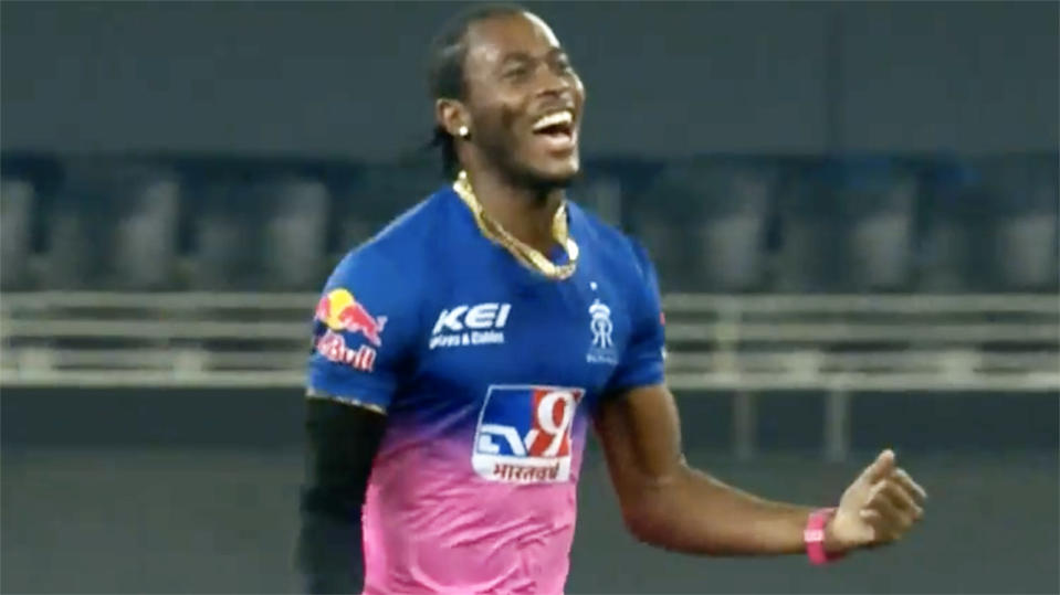 Jofra Archer, pictured here celebrating the wicket of David Warner.