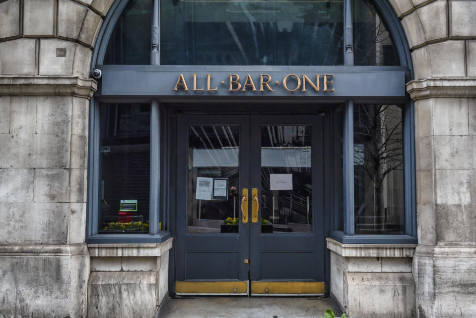 WESTFIELD WHITE CITY, LONDON, UNITED KINGDOM - 2021/02/19: All Bar One in Tower Hill seen currently closed due to the Covi19 lockdown. Pubs and restaurants can reopen outdoors from the 12th April after Boris Johnson announces his road map out of Lockdown for England. (Photo by Dave Rushen/SOPA Images/LightRocket via Getty Images)