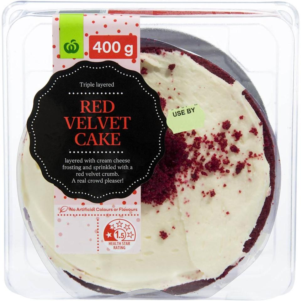 Then pop the red velvet cake on the top. Photo: Woolworths