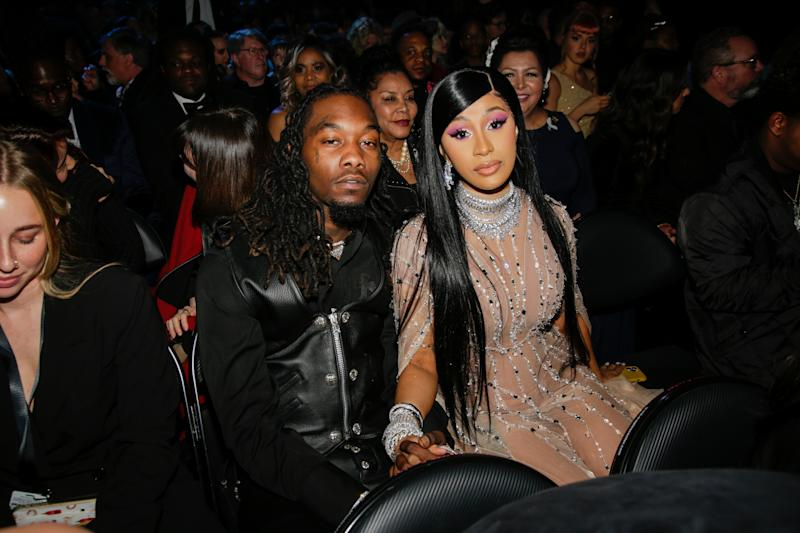Cardi B and Offset appear at THE 62ND ANNUAL GRAMMY® AWARDS, broadcast live from the STAPLES Center in Los Angeles, Sunday, January 26th (8:00-11:30 PM, live ET/5:00-8:30 PM, live PT) on the CBS Television Network. (Photo by Francis Specker/CBS via Getty Images)