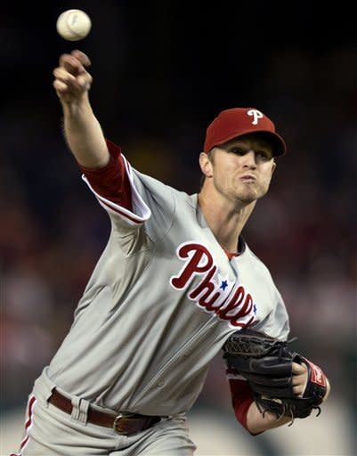 Philadelphia Phillies starting pitcher Kyle Kendrick delivers during the first inning of a baseball game against the Washington Nationals in Washington, Monday, Oct. 1, 2012. (AP Photo/Manuel Balce Ceneta)