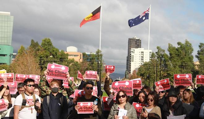About 150 international students, parents and others protest against Hong Kong's extradition bill in Adelaide, Australia. File photo