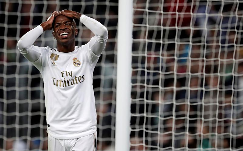MADRID, SPAIN - NOVEMBER 02: Vinicius Junior of Real Madrid reacts during the La Liga match between Real Madrid CF and Real Betis Balompie at Santiago Bernabeu Stadium on November 02, 2019 in Madrid, Spain. (Photo by Burak Akbulut/Anadolu Agency via Getty Images)