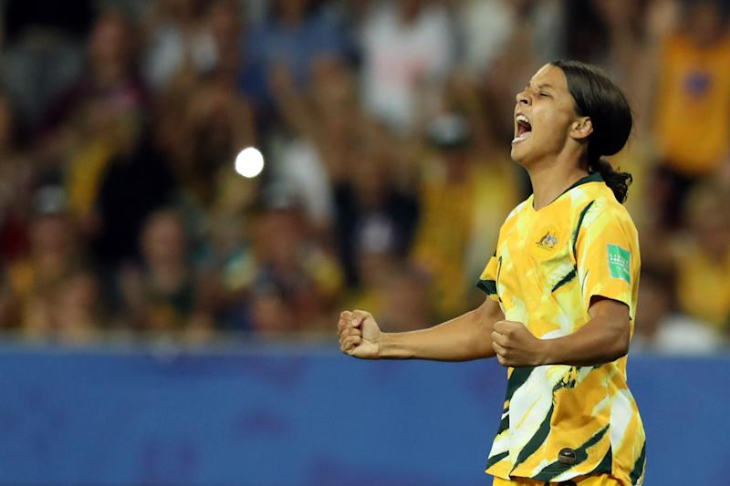 Australia's forward Samantha Kerr celebrates a goal that was later disallowed for offside during the France 2019 Women's World Cup round of sixteen football match between Norway and Australia, on June 22, 2019, at the Stade de Nice stadium in Nice, southern eastern France. (Photo by Valery HACHE / AFP) (Photo credit should read VALERY HACHE/AFP via Getty Images)