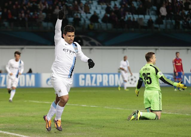 Manchester City's Sergio Aguero celebrates after scoring his second goal during the UEFA Champions League group D soccer match between CSKA Moscow and Manchester City, at Arena Khimki stadium outside Moscow, Russia, on Wednesday, Oct. 23, 2013. (AP Photo/Ivan Sekretarev)