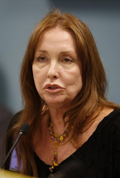 FILE -- In a Sept. 2, 2009 file photo Debra Tate, sister of slain Sharon Tate, speaks during a parole hearing for Manson follower Susan Atkins at the Central California Women's Facility in Chowchilla, Calif. Tate hopes that Wednesday, April 11, 2012, is the last time she has to walk into a prison holding Charles Manson and testify in front of a parole board panel that he should not be freed. (AP Photo/Ben Margot/FILE)