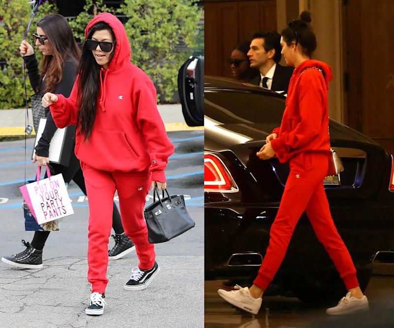 Kourtney Kardashian and Kendall Jenner were recently spotted wearing the same look. (Photo: AKM-GSI)