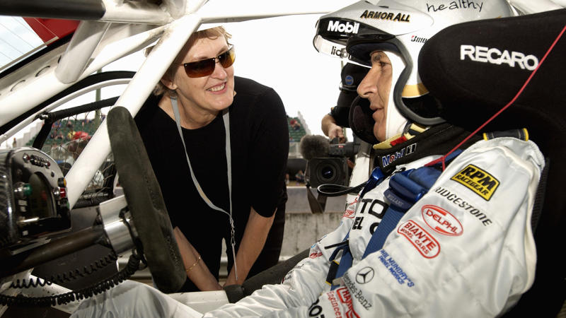 Peter Brock is pictured talking with his then-wife Bev prior to the qualifying at the 2002 Bathurst 1000.