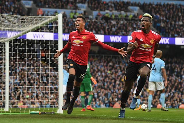 Chris Smalling scores during the Premier League match between Manchester City and Manchester United at Etihad Stadium.