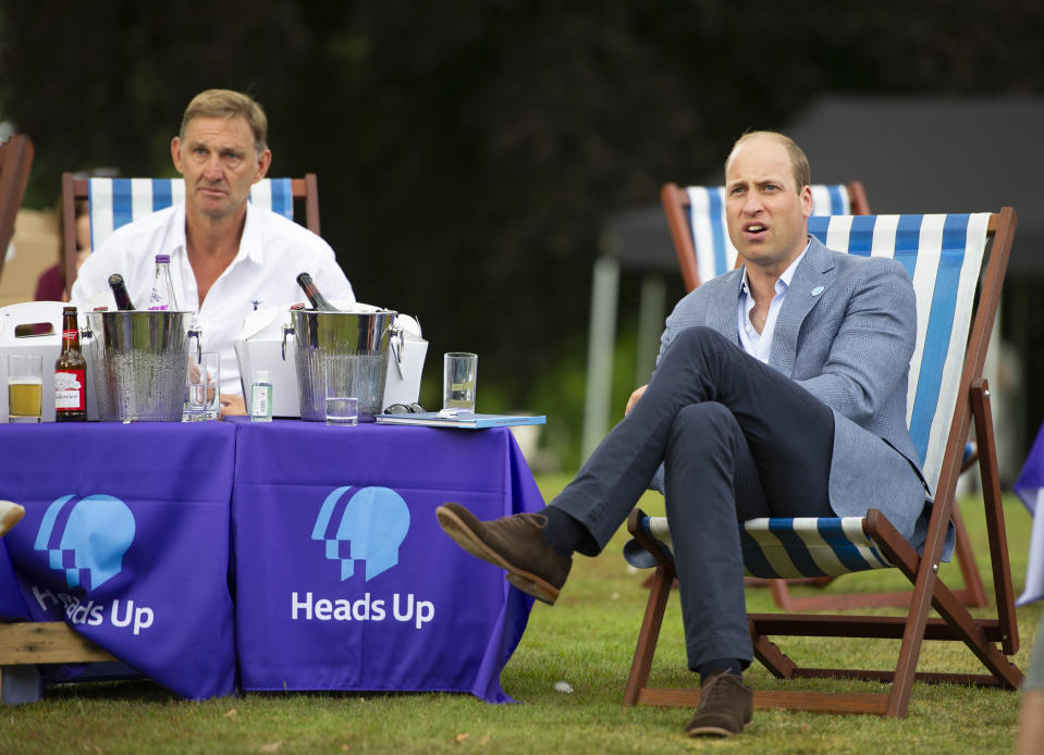 The Duke of Cambridge sits with former Arsenal player Tony Adams and representatives from Heads Up, Calm, Mind and Shout, and frontline workers from Norfolk, during a screening of the Heads Up FA Cup Final between Arsenal and Chelsea, at the Sandringham Estate in Norfolk, to mark the culmination of the Heads Up campaign.