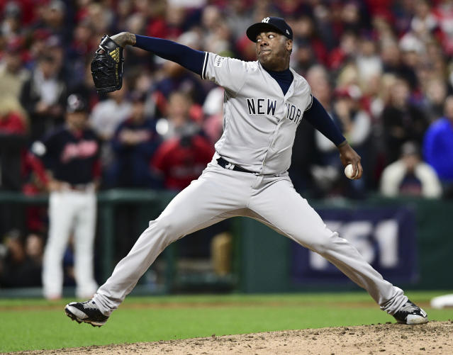 "<a class=""link rapid-noclick-resp"" href=""/mlb/players/8616/"" data-ylk=""slk:Aroldis Chapman"">Aroldis Chapman</a> pitched the final two innings of Game 5 for the save. (AP)"