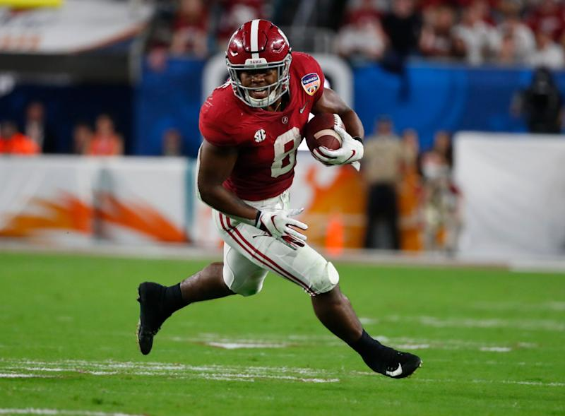 Alabama running back Josh Jacobs (8) runs the ball, during the first half of the Orange Bowl NCAA college football game against Oklahoma, Saturday, Dec. 29, 2018, in Miami Gardens, Fla. (AP Photo/Wilfredo Lee)