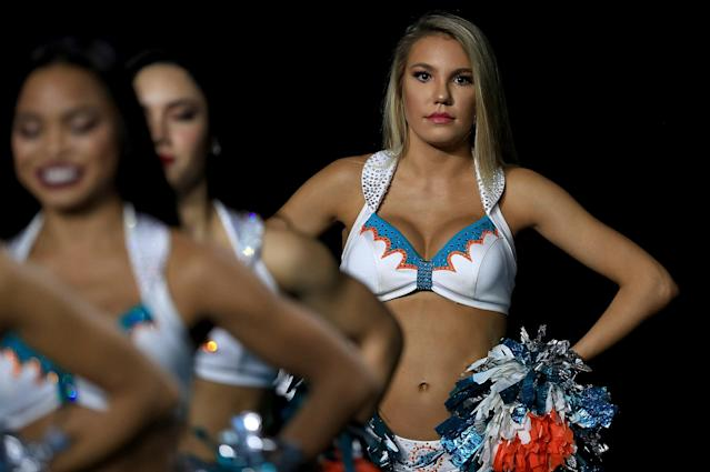 <p>A Miami Dolphins cheerleader performs during a game against the Oakland Raiders at Hard Rock Stadium on November 5, 2017 in Miami Gardens, Florida. (Photo by Mike Ehrmann/Getty Images) </p>