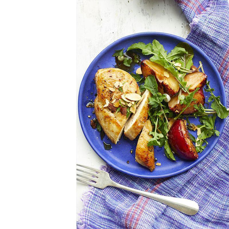 """<p>Not only does this plum and almond pairing make for a unique flavor combo, but this meal will help keep blood sugar levels more regulated and allow you to stay fuller longer.</p><p><em><a href=""""https://www.womansday.com/food-recipes/food-drinks/recipes/a59415/chicken-roasted-plums-almond-gremolata-recipe/"""" rel=""""nofollow noopener"""" target=""""_blank"""" data-ylk=""""slk:Get the Chicken with Roasted Plums and Almond Gremolata recipe."""" class=""""link rapid-noclick-resp"""">Get the Chicken with Roasted Plums and Almond Gremolata recipe.</a></em></p>"""