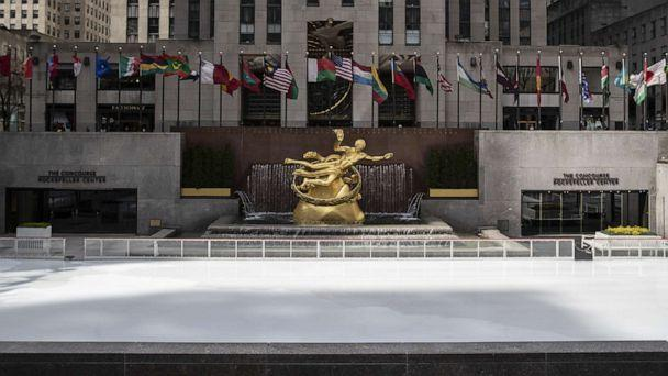 PHOTO: The ice skating rink at Rockefeller Center is empty as it sits closed in the wake of the coronavirus outbreak on March 18, 2020, in New York. (Victor J. Blue/Getty Images)