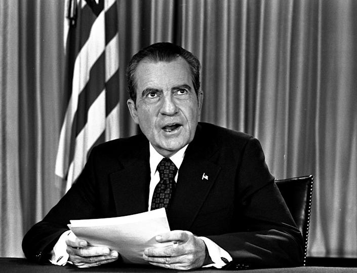 <p>President Nixon after delivering a nationwide television address dealing with Watergate. Nixon repeated that he had no prior knowledge of the Watergate break-in and was not aware of any coverup. (Photo: AP) </p>