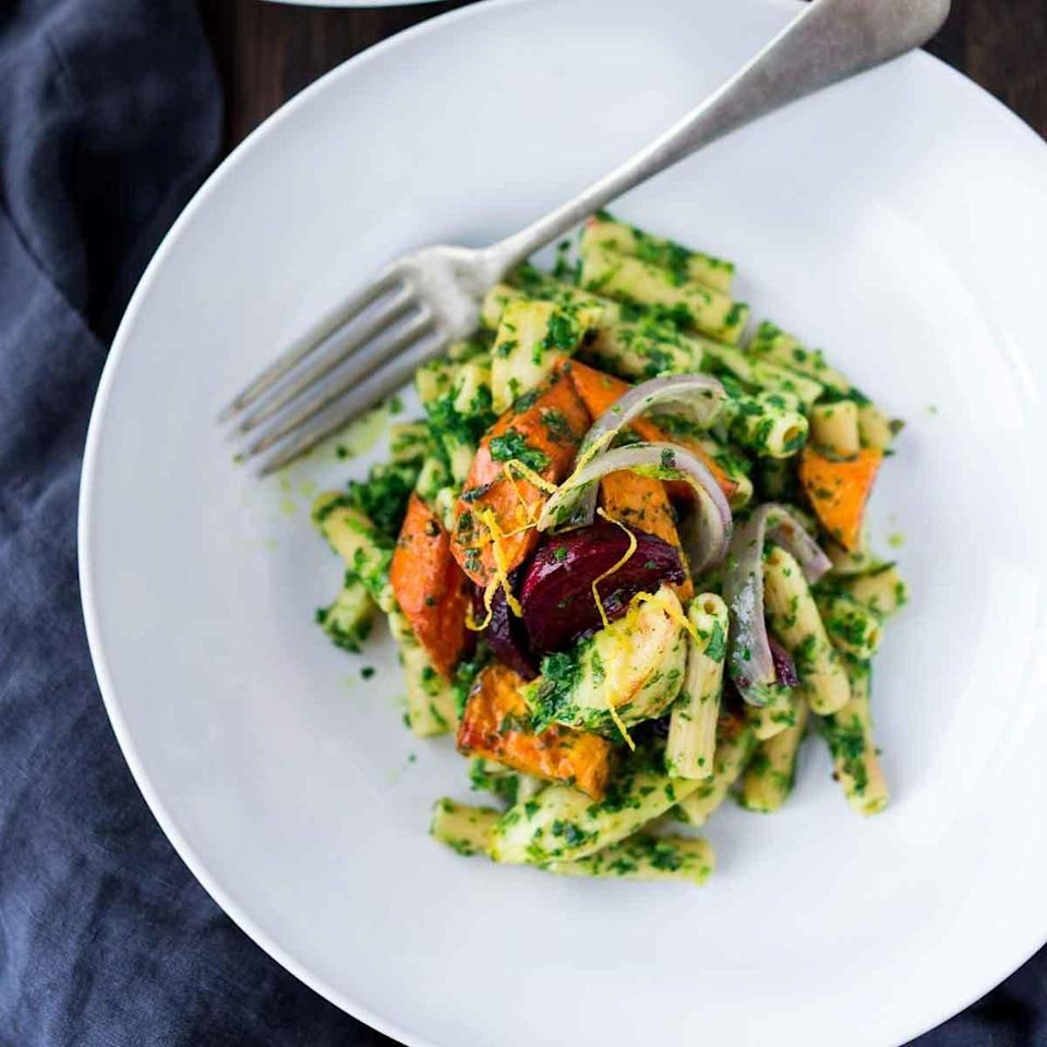 """<p>We love using chickpea pasta in this quick and easy dinner recipe, but other bean pastas or whole-wheat noodles are just as good with this fresh and zesty pesto sauce. <a href=""""http://www.eatingwell.com/recipe/257719/chickpea-pasta-with-lemony-parsley-pesto/"""" rel=""""nofollow noopener"""" target=""""_blank"""" data-ylk=""""slk:View recipe"""" class=""""link rapid-noclick-resp""""> View recipe </a></p>"""