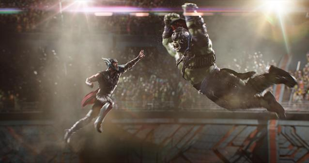 Thor vs. Hulk in <em>Thor: Ragnarok</em>. (Photo: Marvel Studios)