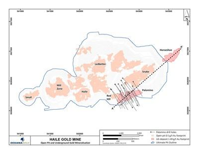 Figure 13 – Plan view of Palomino and Horseshoe deposits on ultimate pit design, Haile Gold Mine (CNW Group/OceanaGold Corporation)