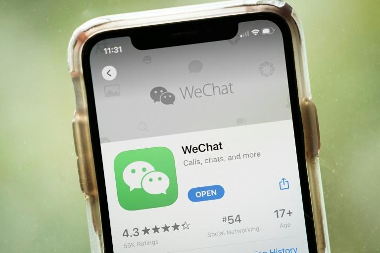 The WeChat app on an Apple iPhone: President Donald Trump has ordered a ban on the Chinese-owned app, as well as the TikTok app, in 45 days
