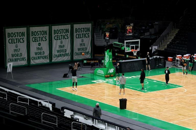 A general view inside TD Garden in Boston, where the Celtics' NBA home game against the Miami Heat was posptoned because Covid-19 safety protocols left the Heat with too few players