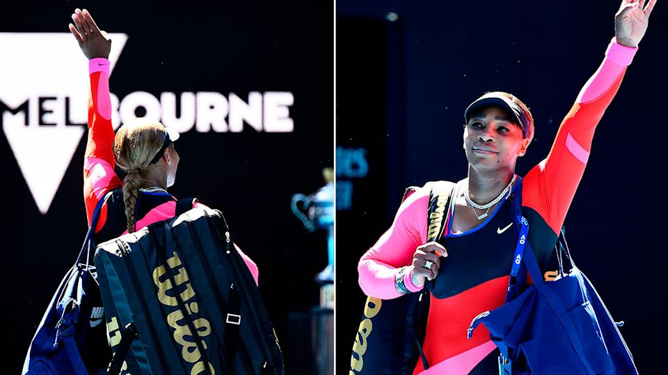 Pictured here, Serena Williams waves goodbye to fans at Melbourne Park after her loss against Naomi Osaka.