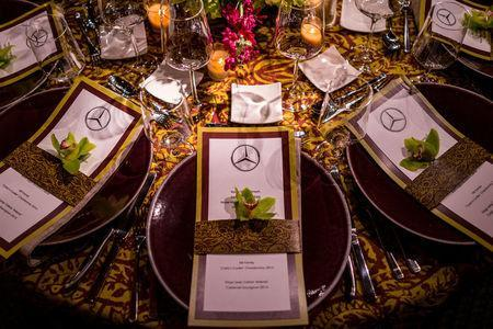 A dinner is set up at the Mercedes-Benz USA hospitality area at River Island in Augusta, Georgia, in this undated handout photo. Jensen Larson Photography/Mercedes-Benz USA - 2017 Masters Experience/Handout via REUTERS