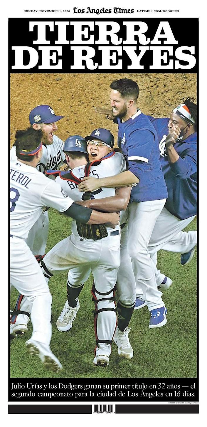 The Spanish-language coverage in the Los Angles Times Dodgers championship special section