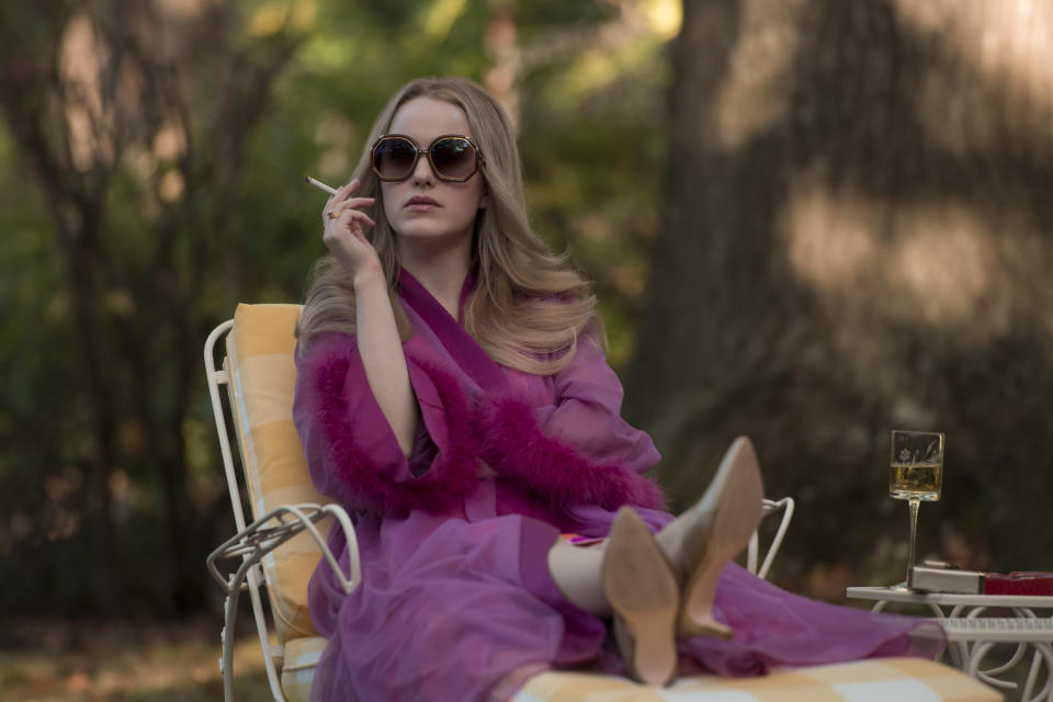 Rachel Brosnahan by the pool smoking in I'm Your Woman