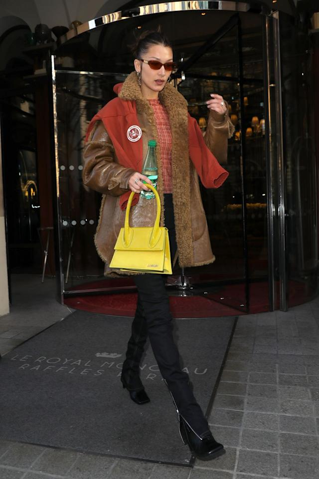 <p><strong>20 January </strong>Bella Hadid accessorised with a yellow Jacquemus bag in Paris. <strong></strong></p>
