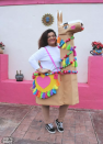 """<p>Kathy Cano-Murillo created this darling llama costume out of cardboard boxes, then added lots of colorful details with pom-poms and yarn.</p><p><strong>Get the tutorial at <a href=""""https://craftychica.com/2018/10/llama-costume-diy/"""" rel=""""nofollow noopener"""" target=""""_blank"""" data-ylk=""""slk:The Crafty Chica"""" class=""""link rapid-noclick-resp"""">The Crafty Chica</a>.</strong></p>"""
