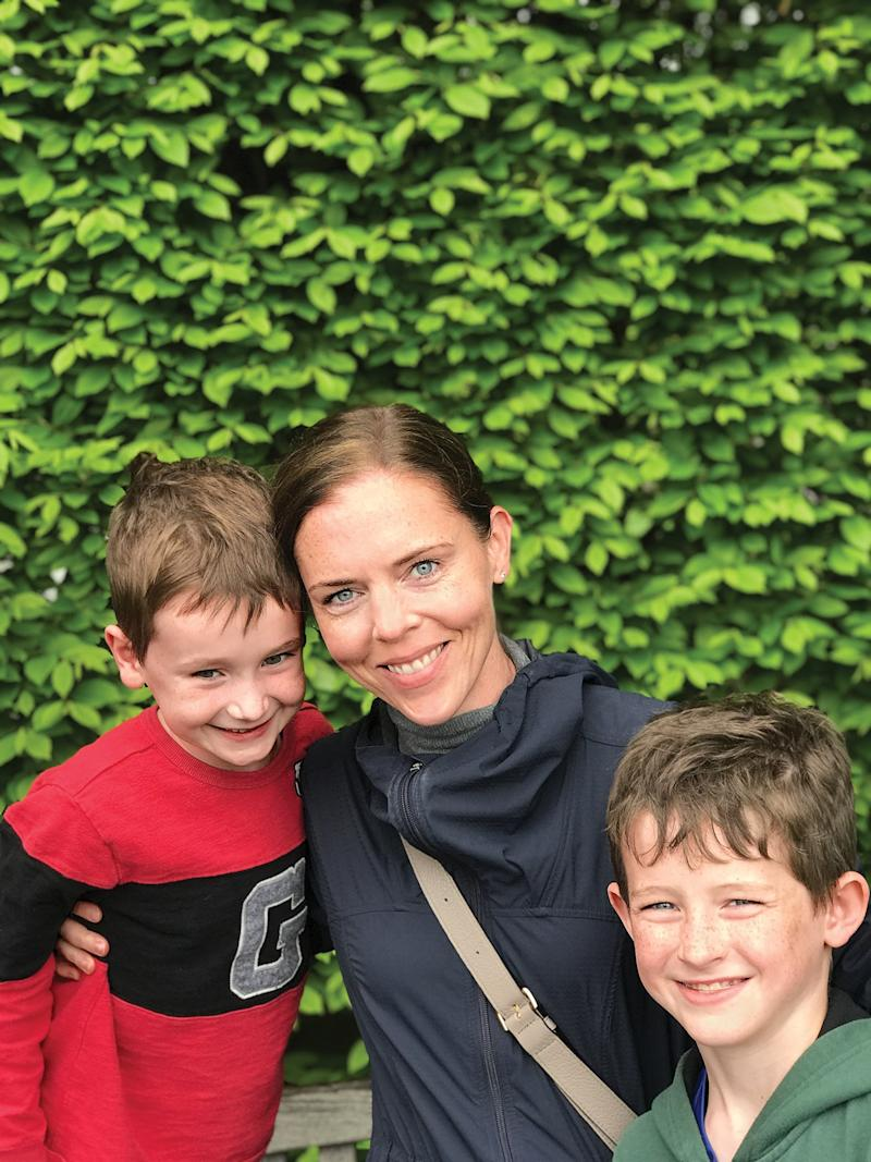 Keane, author of the forthcoming novel Ask Again, Yes. with her sons, Emmett, 7, and Owen, 10.