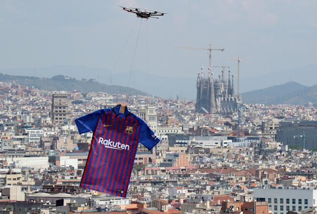 Soccer Football - FC Barcelona unveil the new jersey for the season 2018-2019 - Barcelona, Spain - May 19, 2018 The new FC Barcelona jersey is unveiled over the city of Barcelona REUTERS/Albert Gea TPX IMAGES OF THE DAY