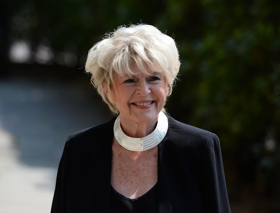 Gloria Hunniford arrives at Old Church, 1 Marylebone Road in London for the funeral of Supermarket Sweep star Dale Winton. (Photo by Kirsty O'Connor/PA Images via Getty Images)