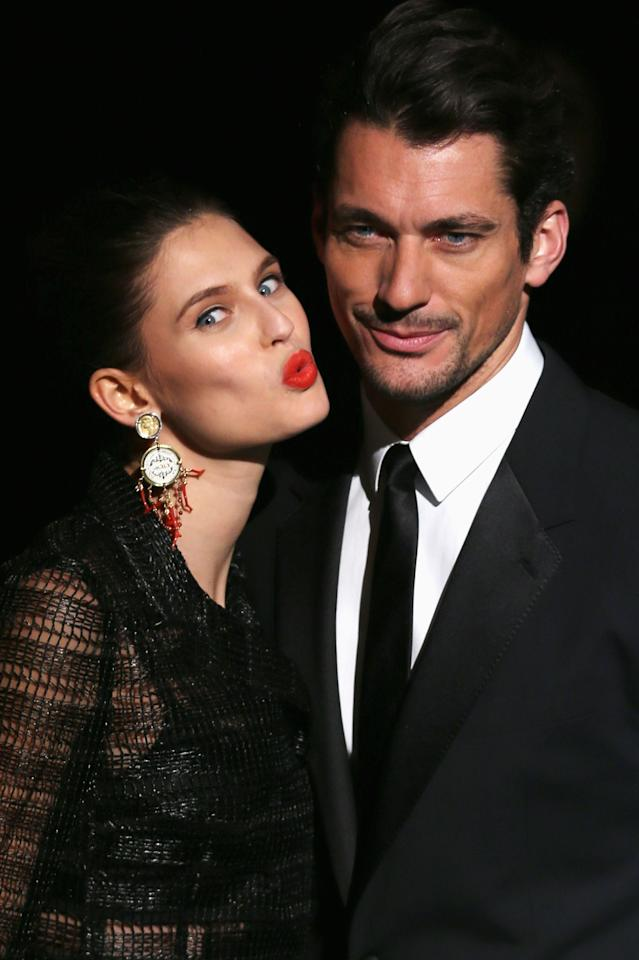 MILAN, ITALY - FEBRUARY 24:  Bianca Balti and David Gandy attends the Dolce & Gabbana fashion show as part of Milan Fashion Week Womenswear Fall/Winter 2013/14 on February 24, 2014 in Milan, Italy.  (Photo by Vittorio Zunino Celotto/Getty Images)