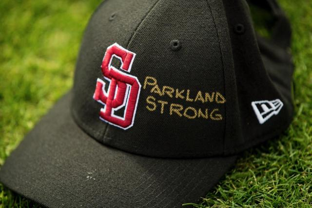 All MLB teams wore a Stoneman Douglas hat to pay tribute to the victims of the Parkland shooting. (Twitter/@redsox)