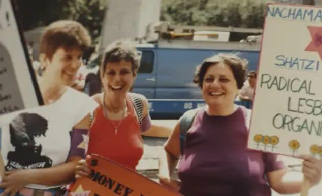The author (right) at a Pride parade with Radical Jewish Lesbians Organizing in the early 1970s. (Photo: Photo courtesy of Shatzi Weisberger)